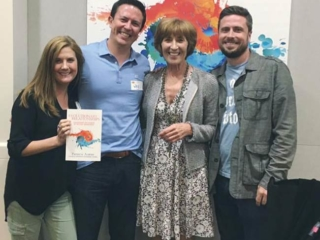 Patricia Albere with family at her book launch