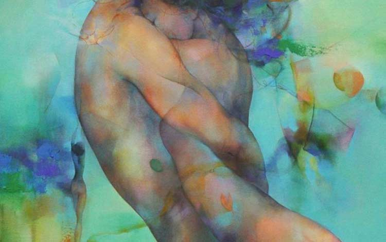 water color painting of a man and woman in each others arms